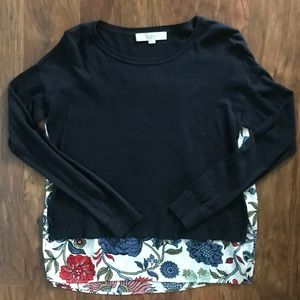 Loft Navy and Floral Sweater